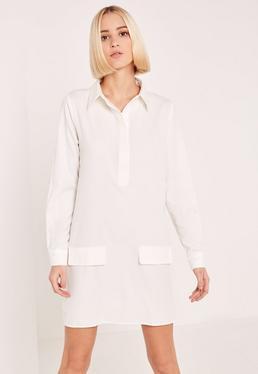 White Low Pocket Half Placket Shirt Dress