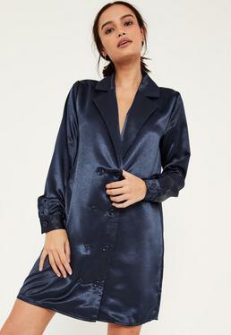 Blue Satin Double Button Curve Hem Dress