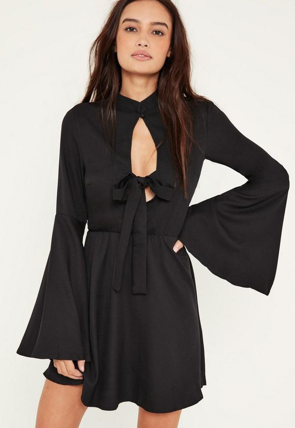 Black Flared Sleeve Tie Front Skater Dress