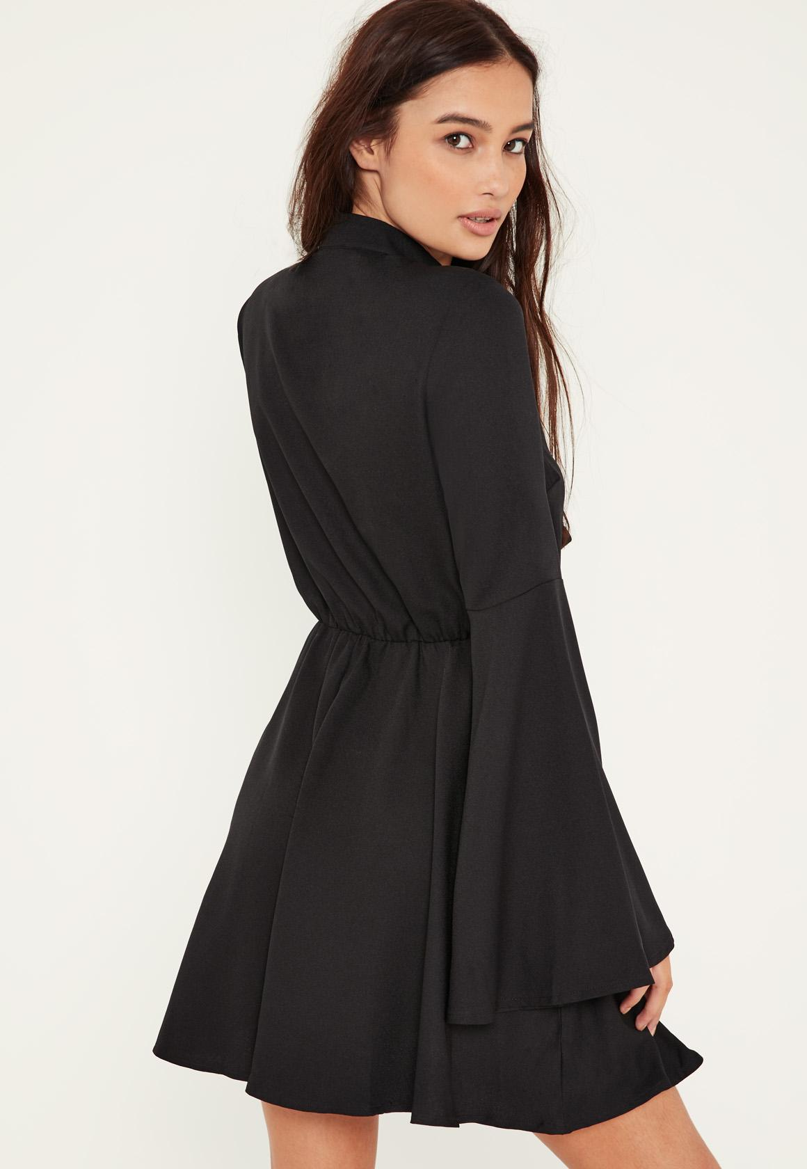 Black Flared Sleeve Tie Front Skater Dress
