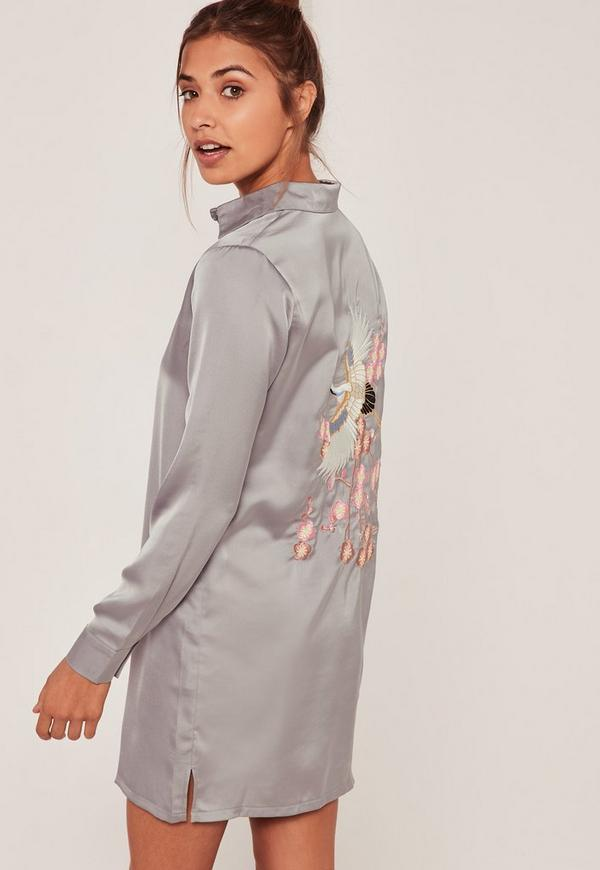 Grey Embroidered Back Mini Shirt Dress