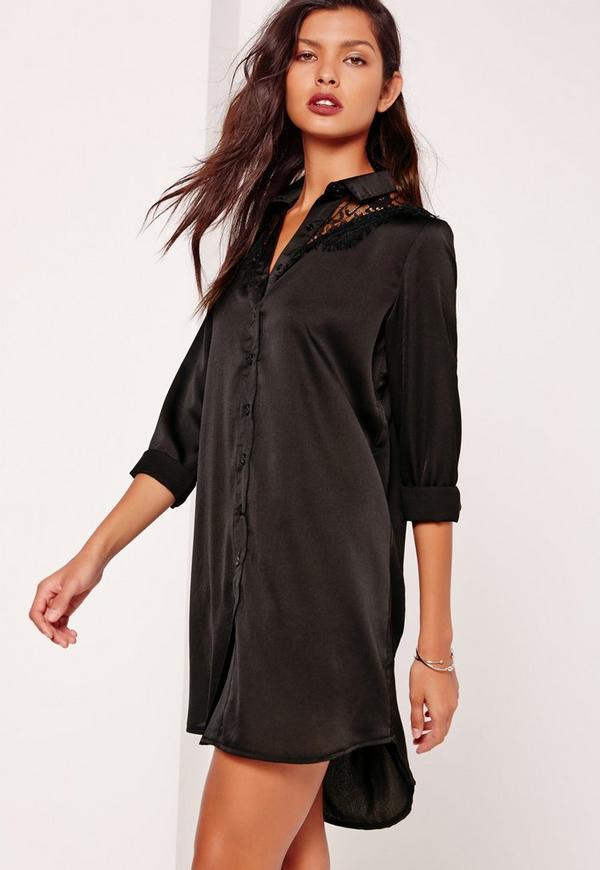 Lace Insert Satin Shirt Dress Black