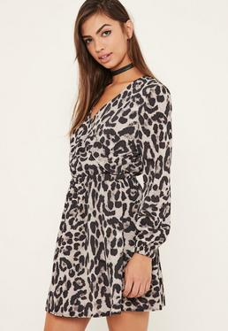 Leopard Print Wrap Skater Dress