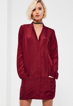 Burgundy Pocket Zip Front Shirt Dress