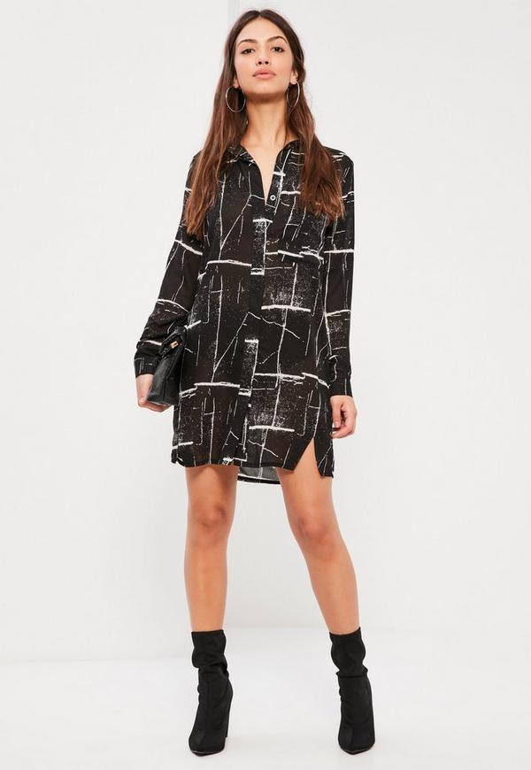 Black Cracked Print Shirt Dress
