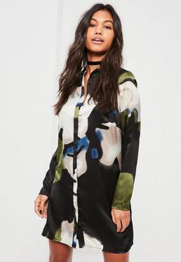 Robe-chemise multicolore imprimée