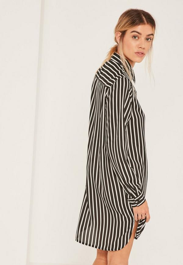 Black and White Stripe Pocket Shirt Dress | Missguided