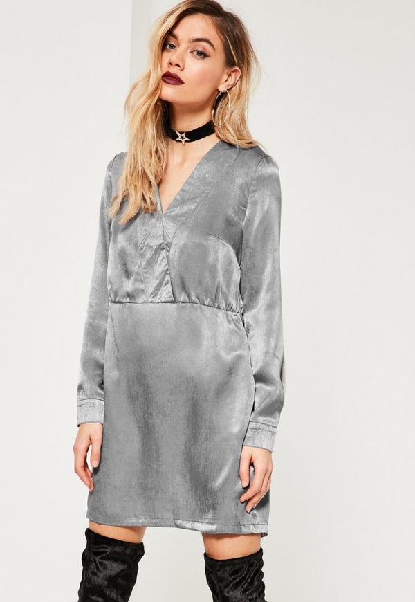 Grey Binding Shift Dress