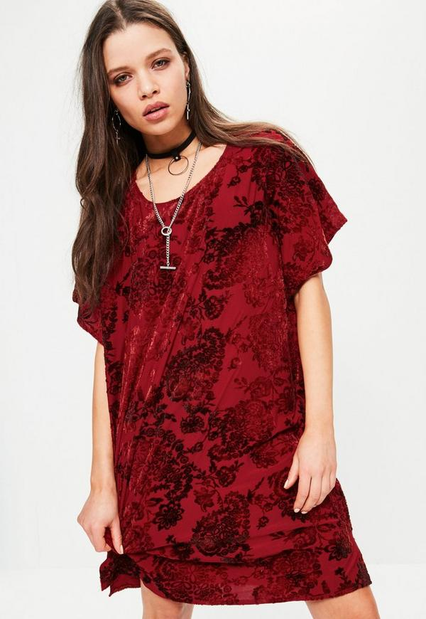 Flock Velvet Shift Dress Red