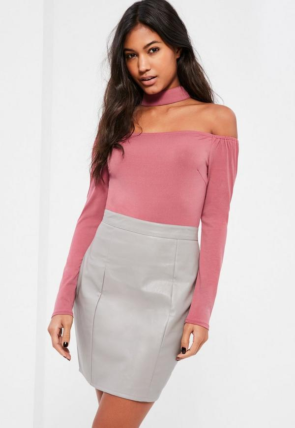 Pink Contrast Bardot Faux Leather Bottom Dress