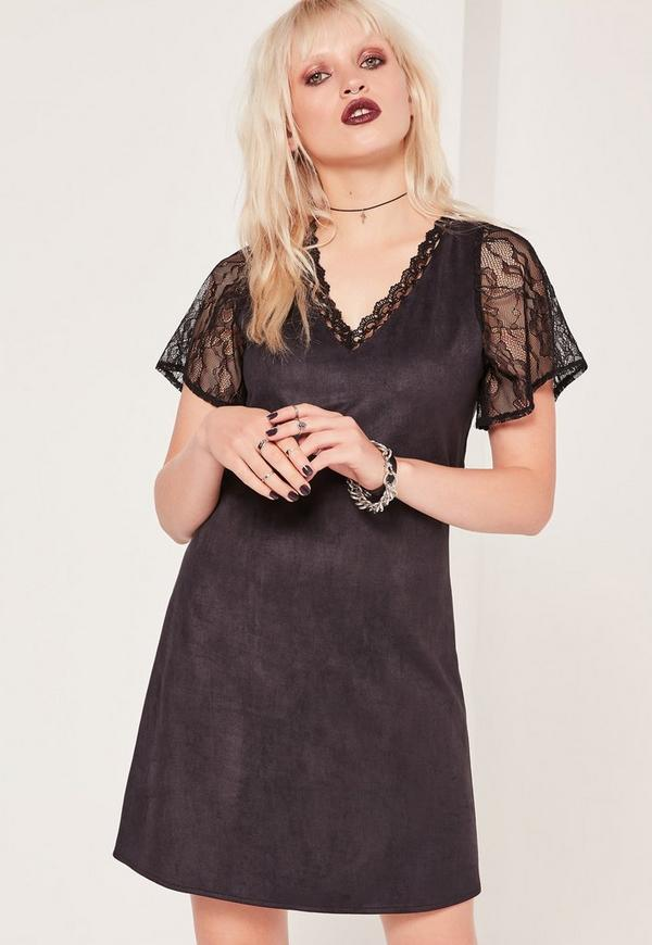 Lace Sleeve Faux Suede Dress Black