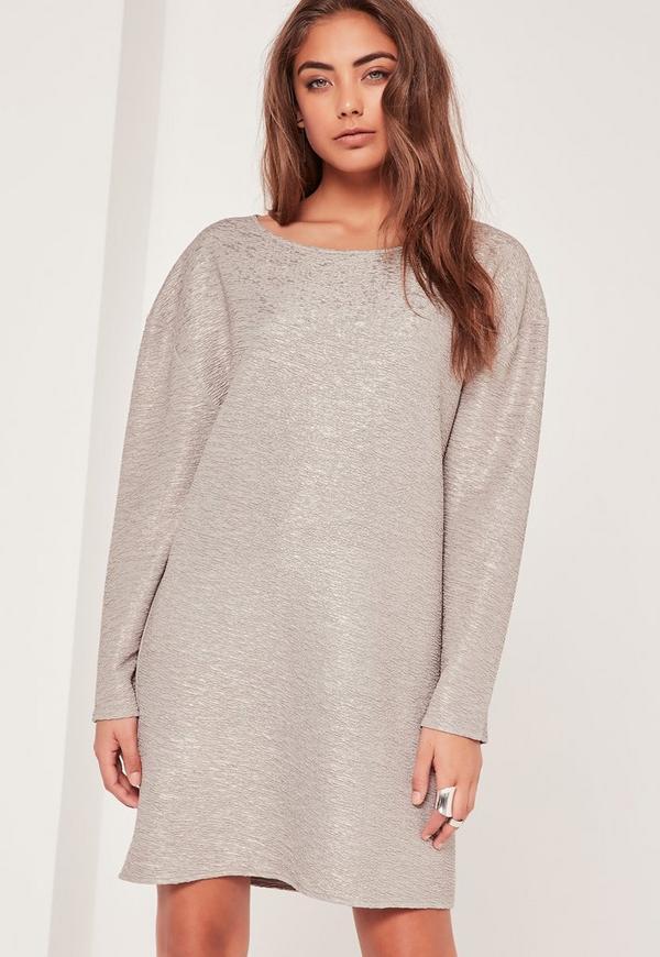 Crinkle Metallic Oversized Dress Silver