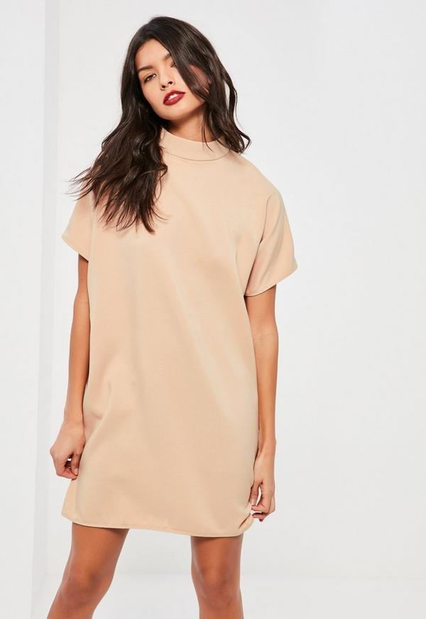 Nude High Neck Crepe Oversized Dress