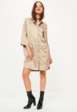 Nude 3/4 Pocket D Ring Shirt Dress
