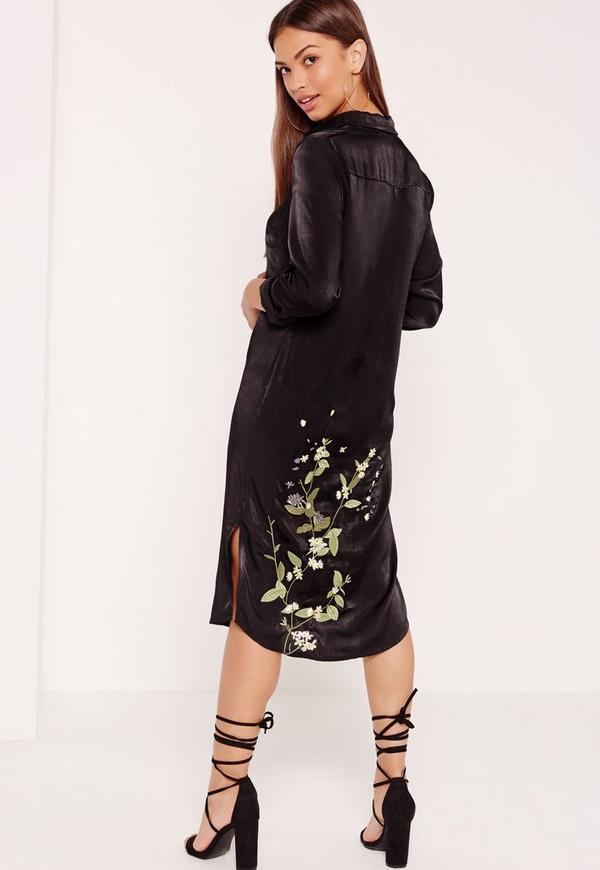 Low Embroidered Midi Satin Shirt Dress Black