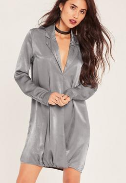 Robe oversize soyeuse grise style portefeuille