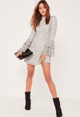 Grey Layered Flared Sleeve Swing Dress