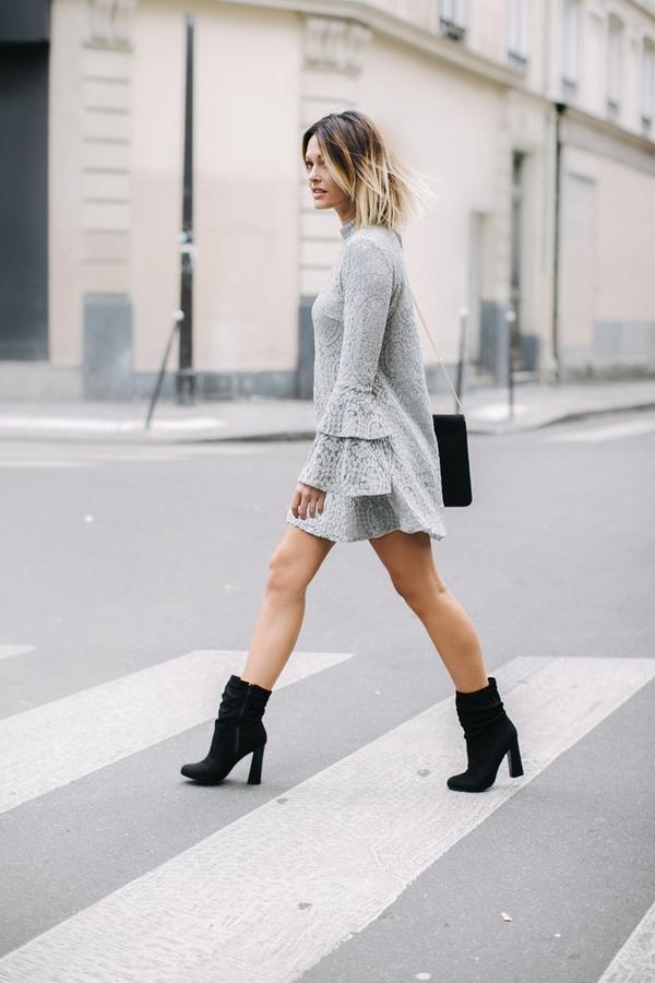 Caroline Receveur Grey Layered Flared Sleeve Swing Dress