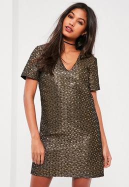 Gold Metallic Jacquard Shift Dress
