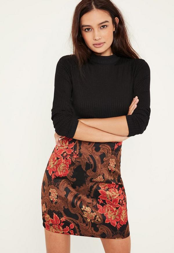 Orange Jacquard Skirt Ribbed Top 2 in 1 Dress