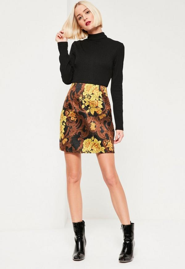 Black Jacquard Skirt Ribbed 2 in 1 Dress