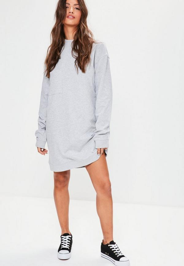 Grey Oversized Pocket High Neck Sweater Dress