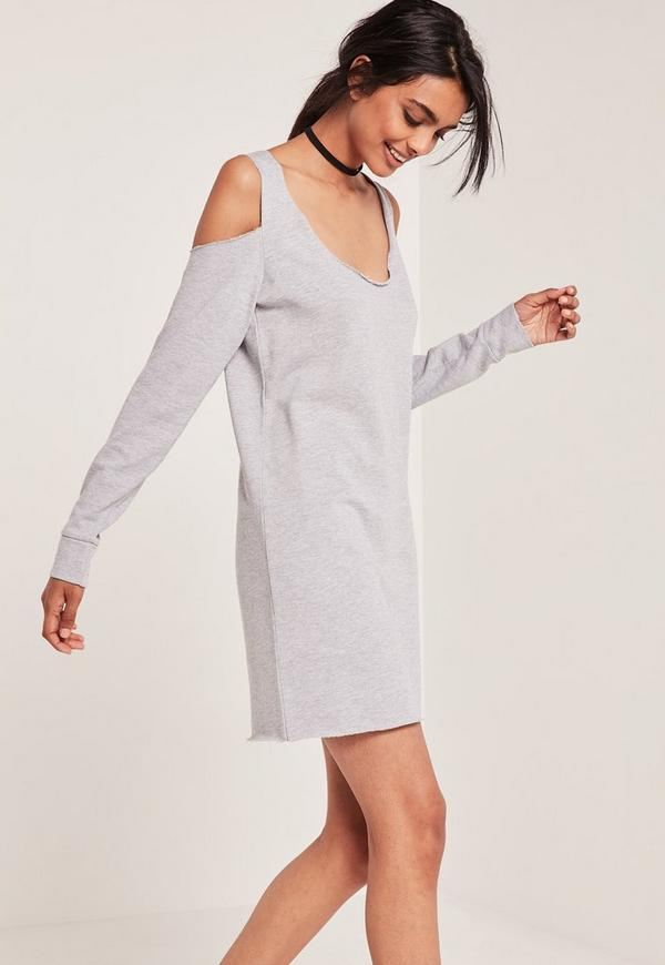 Grey Cold Shoulder Raw Hem Sweater Dress