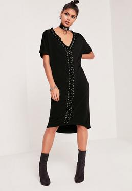Lace Up Eyelet Oversized Dress