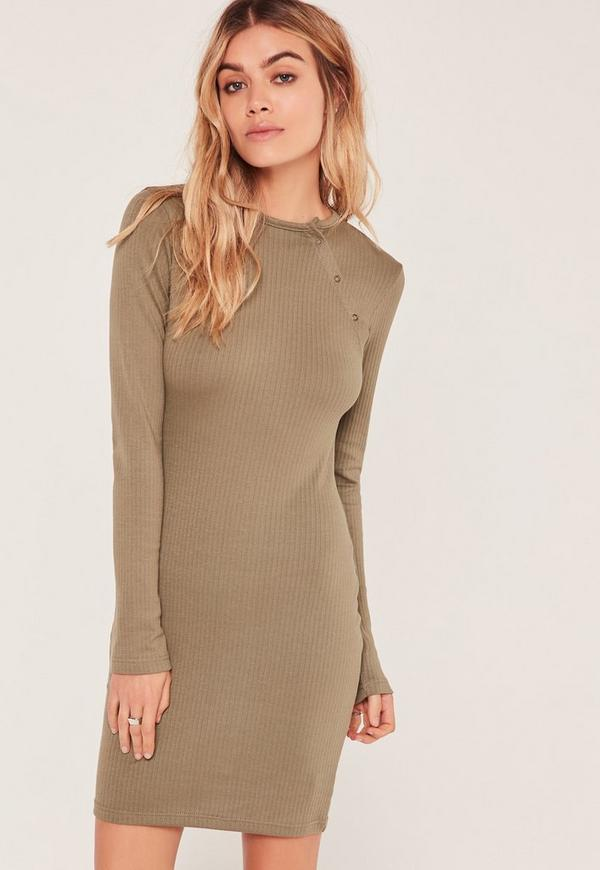 Khaki Ribbed Button Up Shoulder Bodycon Dress