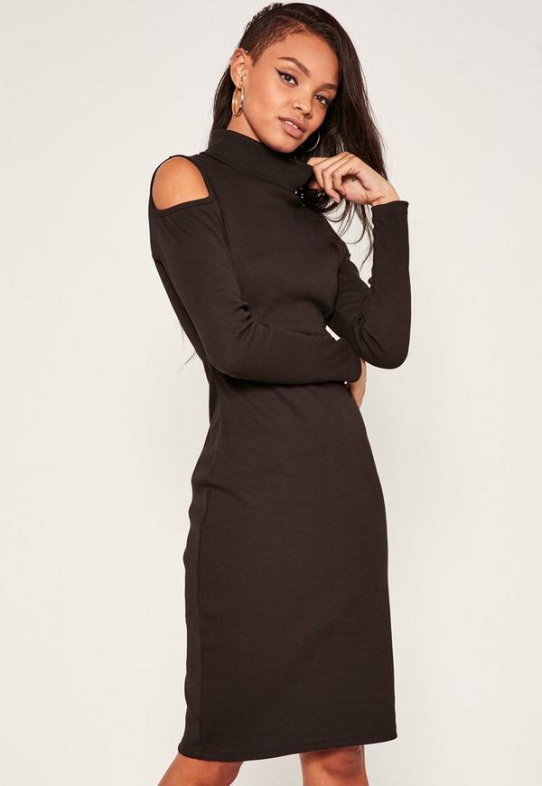 Black Cold Shoulder Polo Neck Dress