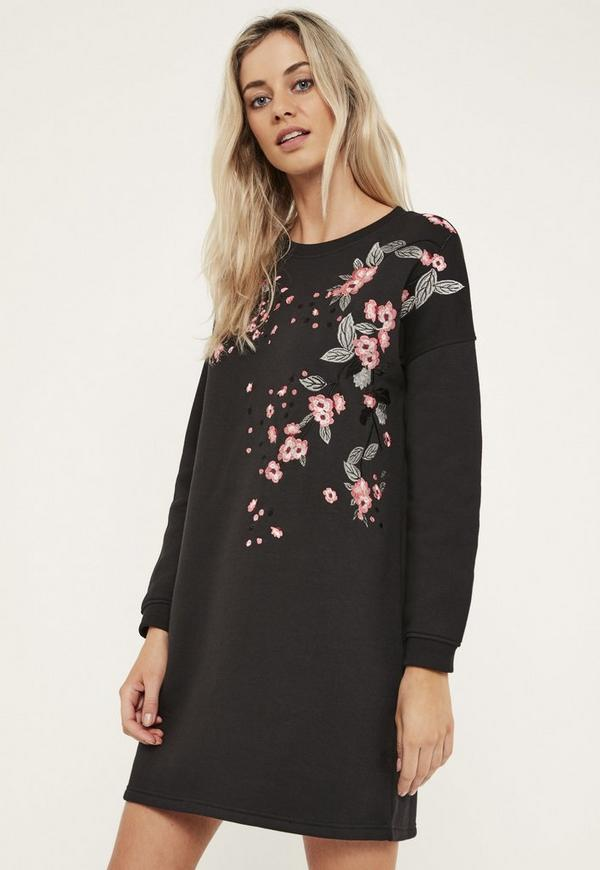 Black Embroidered Sweater Dress