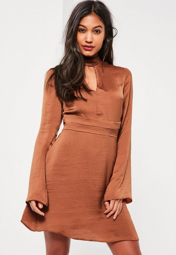 Belted Plunge Choker Neck Dress Bronze