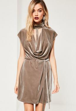 Brown Choker Cowl Neck Bodycon Velvet Dress