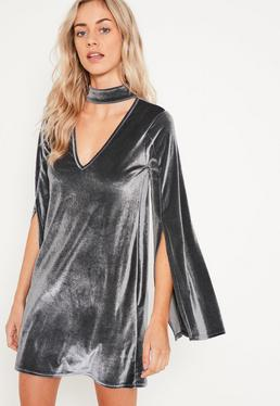 Grey Velvet Choker Neck Swing Dress