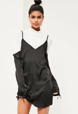 Black 2 in 1 Cold Shoulder Satin Swing Dress
