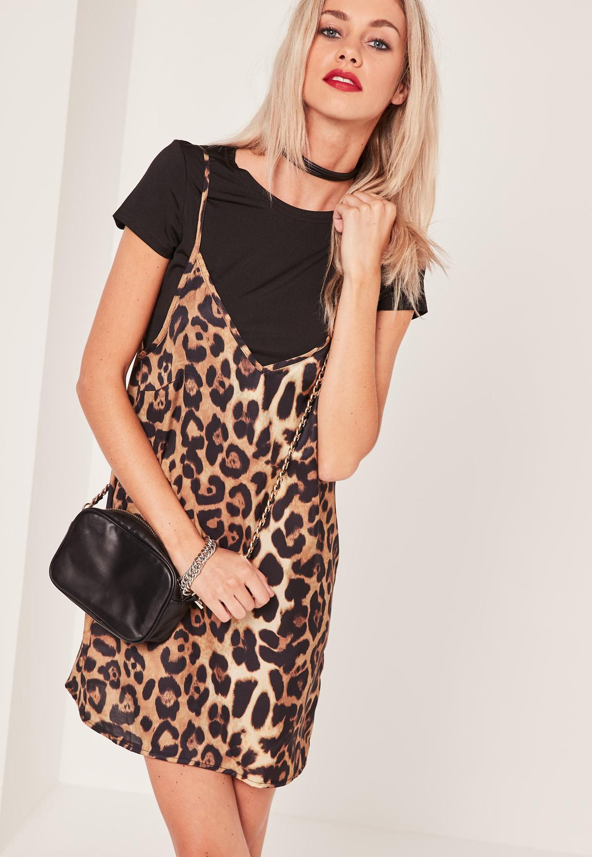Leopard Print 2 in 1 Dress Black