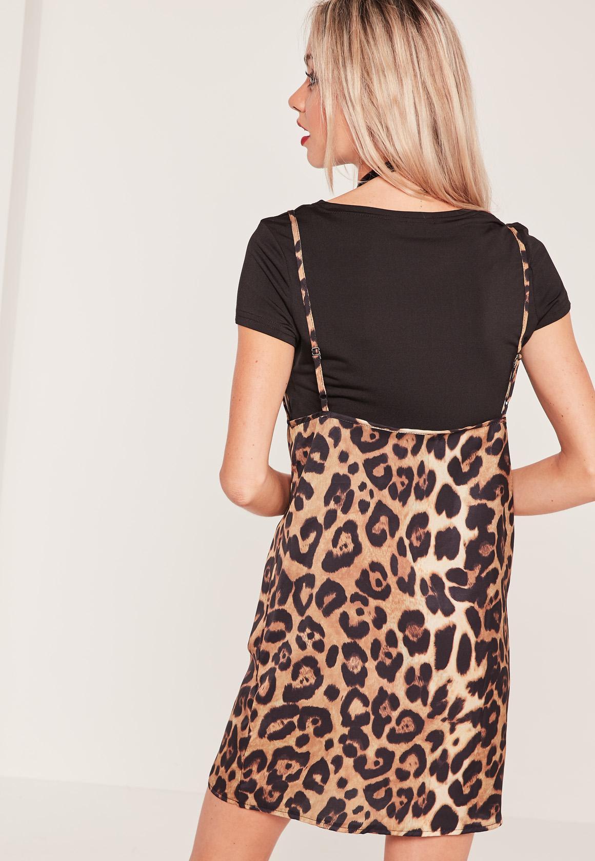 Leopard Print 2 in 1 Dress Black