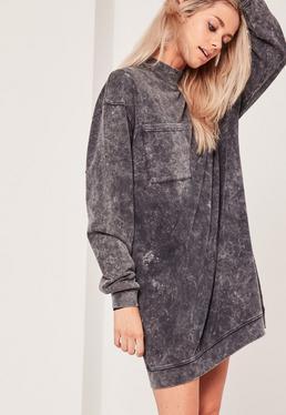 Robe sweat noire à col montant et poche