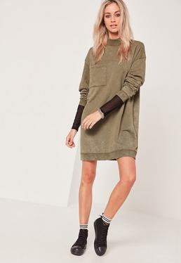 Khaki Pocket High Neck Sweater Dress