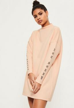 Nude Mono Slogan Jumper Dress