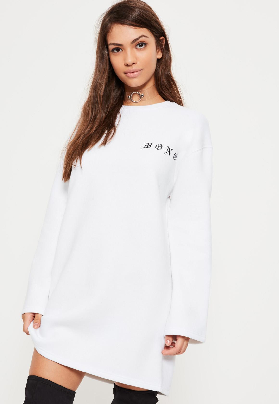White Mono Slogan Sweater Dress