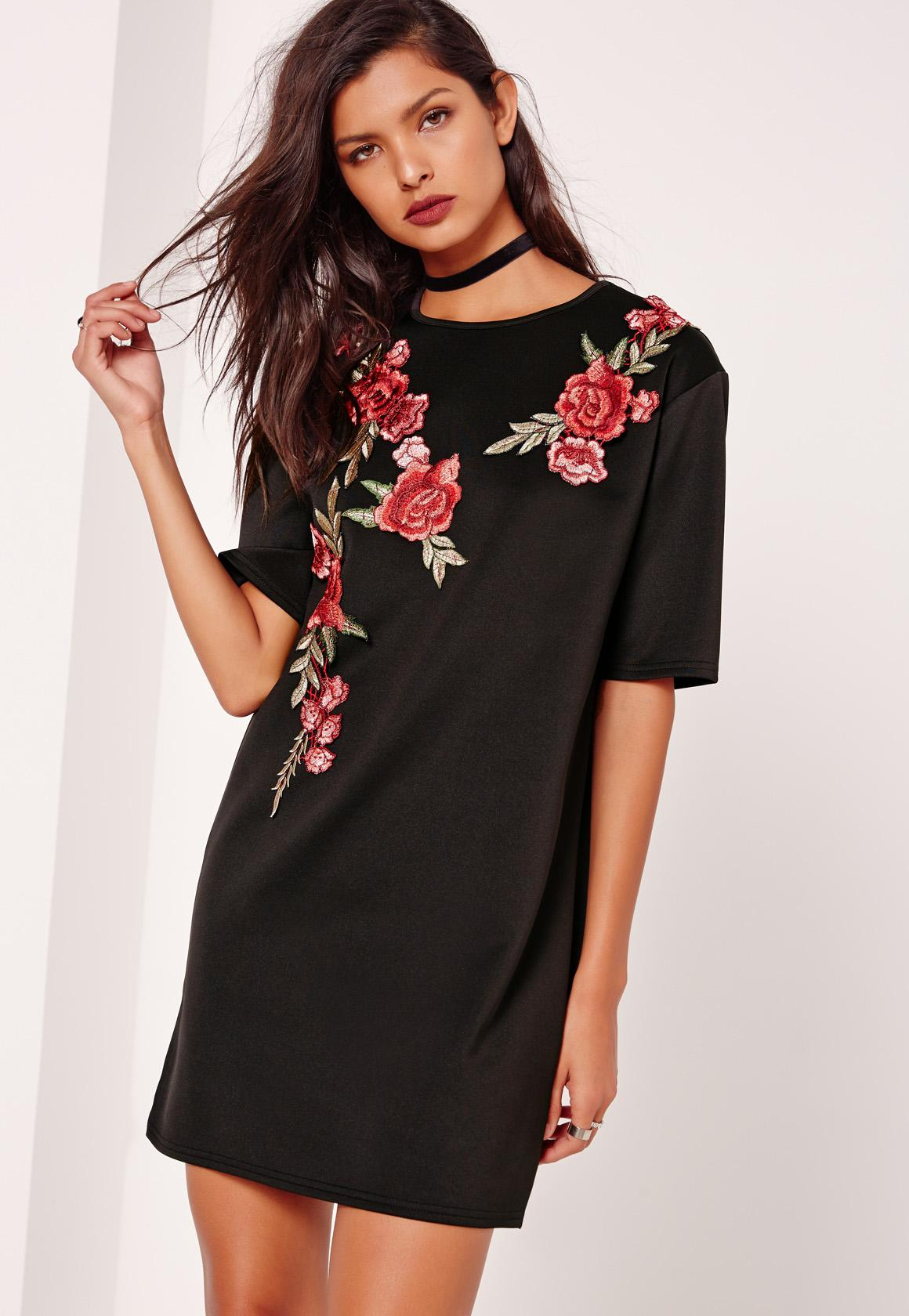 Floral Applique Trim Scuba T Shirt Dress Black