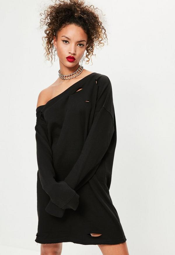 Ripped Oversized Sweater Dress Black