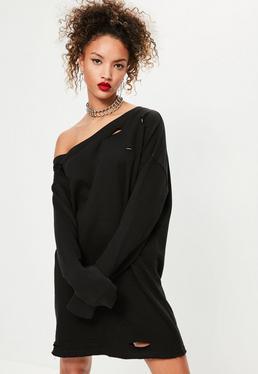 Zerrissenes Oversize-Pulloverkleid in Schwarz