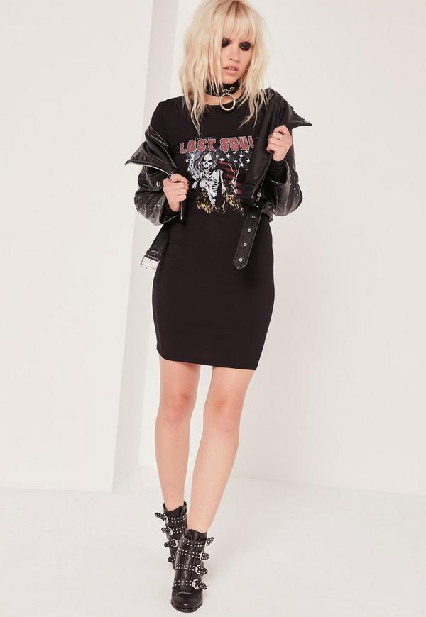 Lost Souls Motif Bodycon Dress Black
