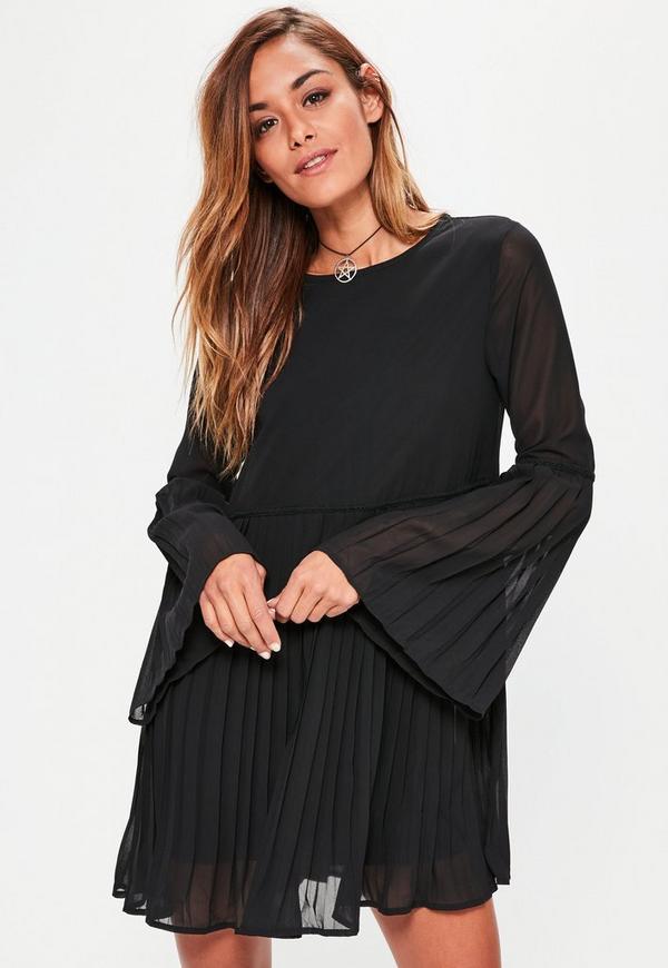 Black Long Sleeve Pleated Swing Dress
