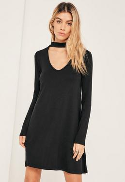 Black Choker Neck Swing Dress