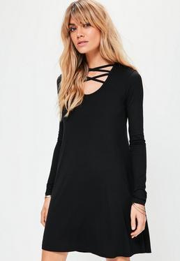 Black Long Sleeve Cross Front Swing Dress