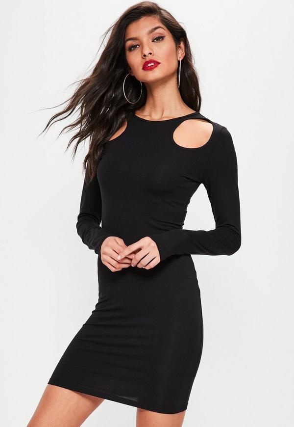 Black Circle Shoulder Cut Out Bodycon Dress