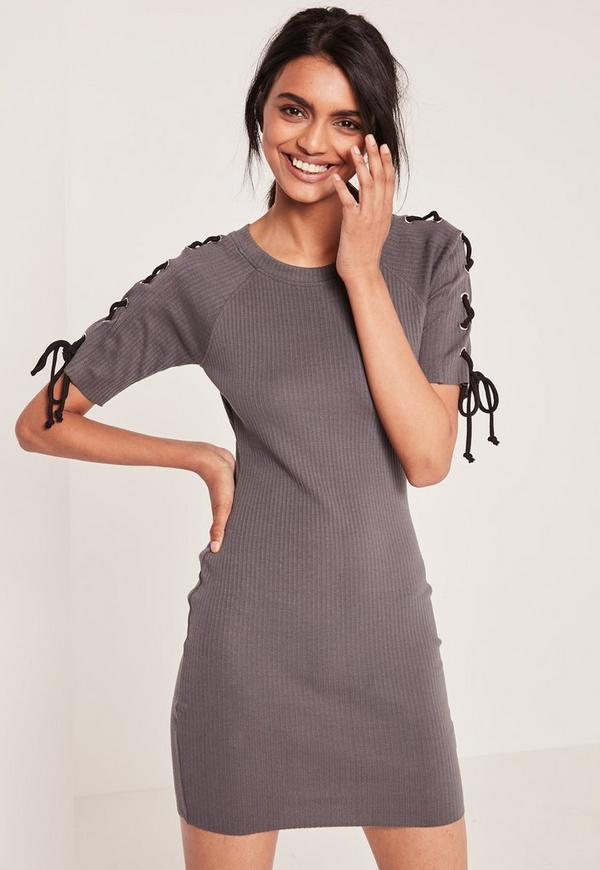 Grey Lace up Half Sleeve Ribbed bodycon dress